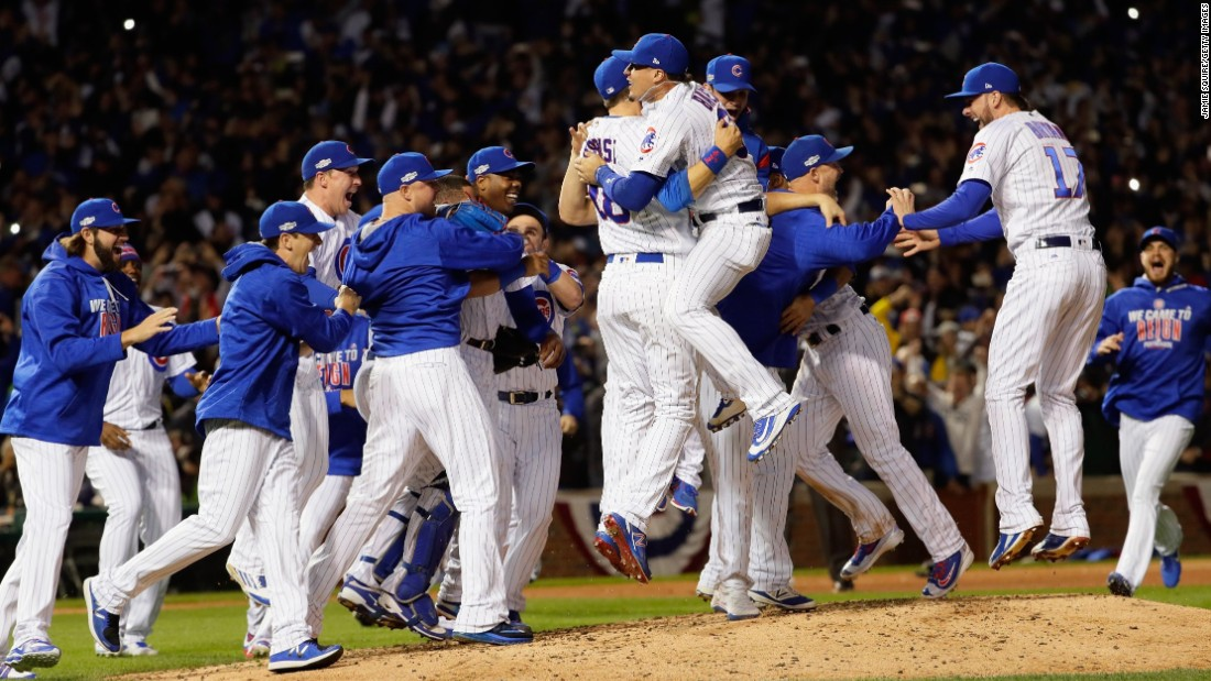 The Chicago Cubs celebrate after defeating the Los Angeles Dodgers 5-0 in Game 6 of the National League Championship Series to advance to the World Series against the Cleveland Indians, at Wrigley Field on October 22, 2016 in Chicago.