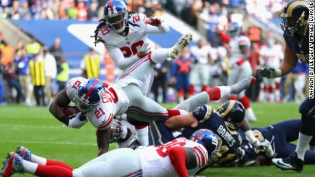 Landon Collins of  the New York Giants dives over for his touchdown after a dazzling return run at Twickenham.