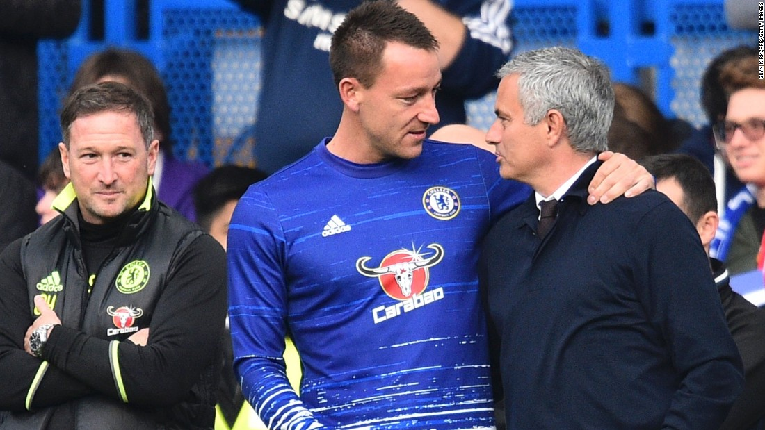 Mourinho spent two spells with Chelsea, winning three Premier League titles, three League Cups and one FA Cup. But he was sacked by the club in December 2015 after a disastrous start to the defense of its crown left it hovering above the relegation zone. Before Sunday's game, he was reunited with John Terry, his former captain at Chelsea.