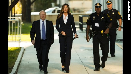 Former Pennsylvania Attorney General Kathleen Kane arrives at the Montgomery County courthouse for her scheduled sentencing hearing in Norristown on Monday, October 24.