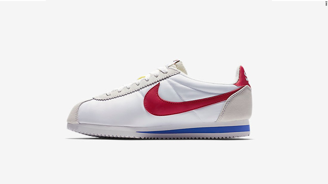 Designed by US Olympic track coach Bill Bowerman, the Nike Cortez was marketed as the first modern track shoe and released before the 1972 Munich Olympics. The sneaker earned legendary status as an early long-distance running shoe, cemented in the 1994 film Forrest Gump when Jenny's gift of a pair of Nike Cortez helped Forrest run across America.