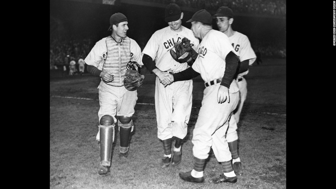 Cubs catcher Mickey Livingston, left, and pitcher Claude Passeau react after game three of the 1945 World Series.<br /><br /><br />