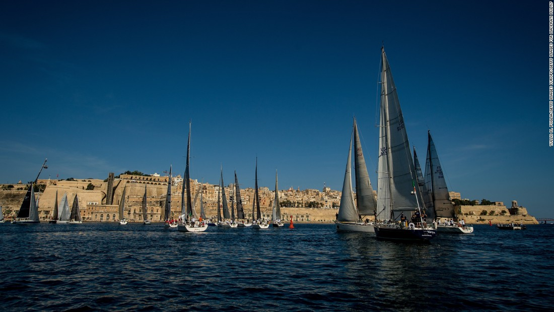 "Yachts are pictured off the coast of Malta as they compete in the <a href=""http://rolexmiddlesearace.com/index.cfm"" target=""_blank"">Rolex Middle Sea Race</a>."