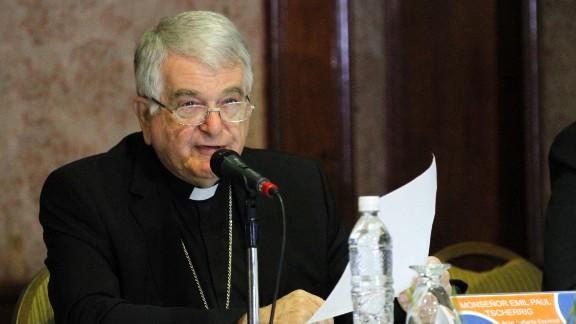 The Vatican's representative Monsignor Emir Paul Tscherrig speaks during a meeting in Caracas on October 24, 2016.