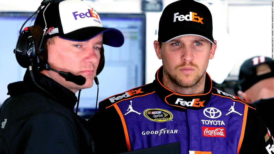 "Hamlin's crew chief is Michael Wheeler, pictured left. ""We worry about safety more than performance and durability,"" says Wheeler."