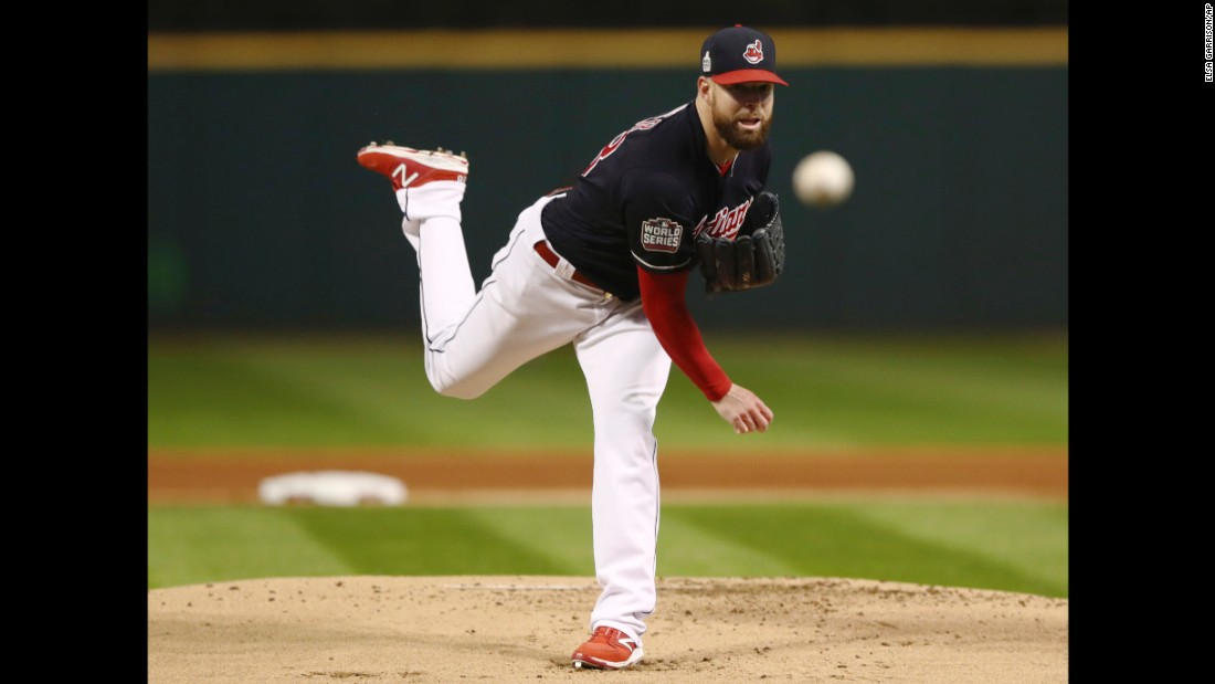 Cleveland starting pitcher Corey Kluber throws a pitch. Kluber set a World Series record with eight strikeouts in the first three innings in Game 1.