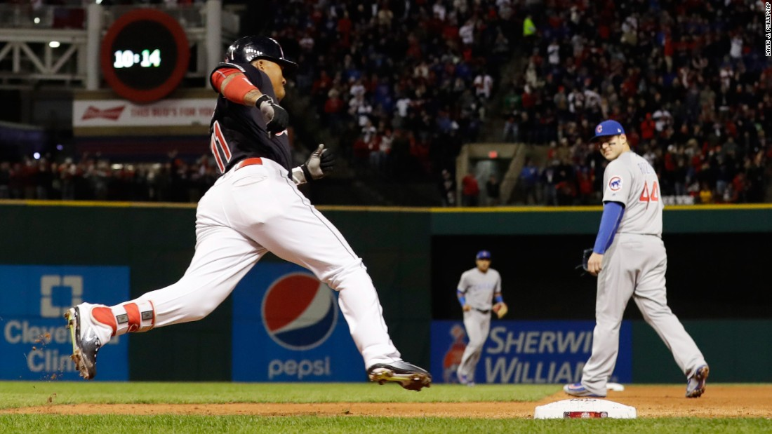 Cleveland's Jose Ramirez rounds a base after hitting a double in Game 1.