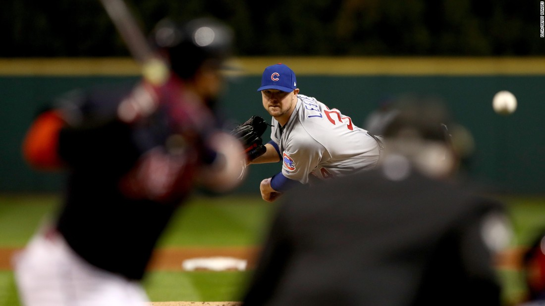 Jon Lester of the Cubs throws a pitch in Game 1.