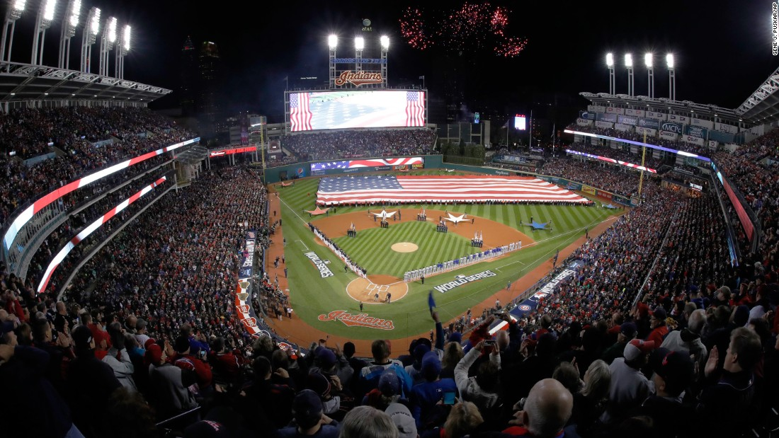 Fireworks explode over Progressive Field in Cleveland prior to Game 1.