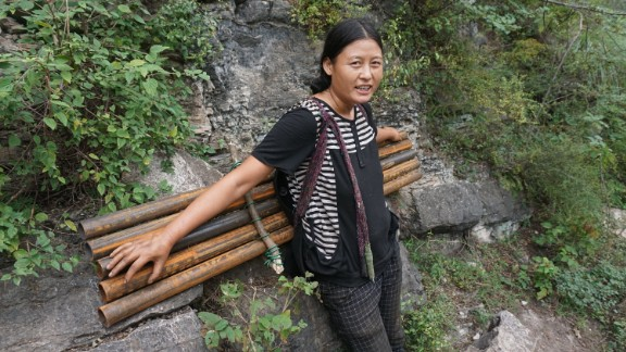 With handrails and a more stable structure, it will also make the journey safer for villagers, who descend and climb the cliff each week to buy groceries and trade their products at the nearest market several miles away.