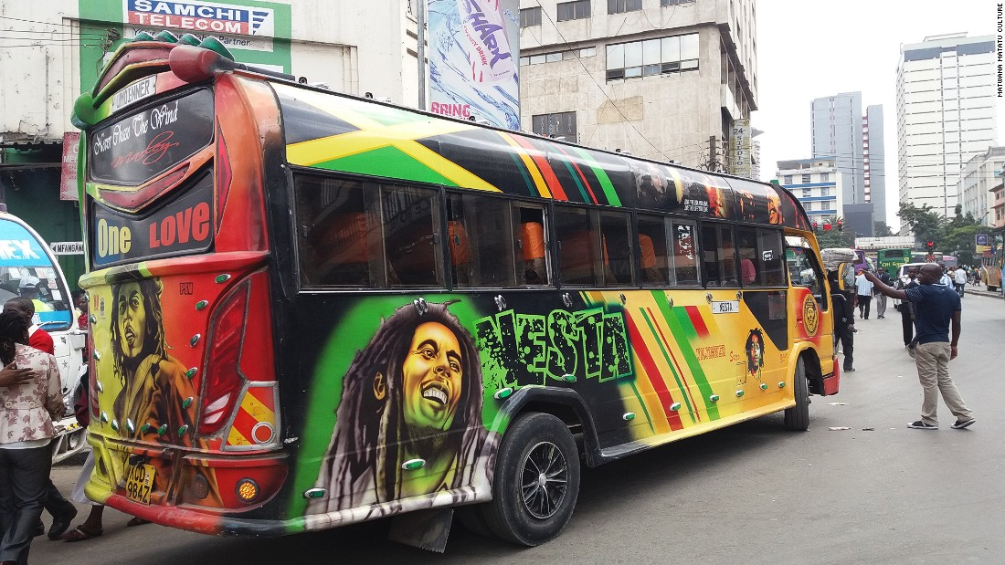 Each matatu is customized with artistic designs, bright colorful lights, and plenty of loud entertainment.
