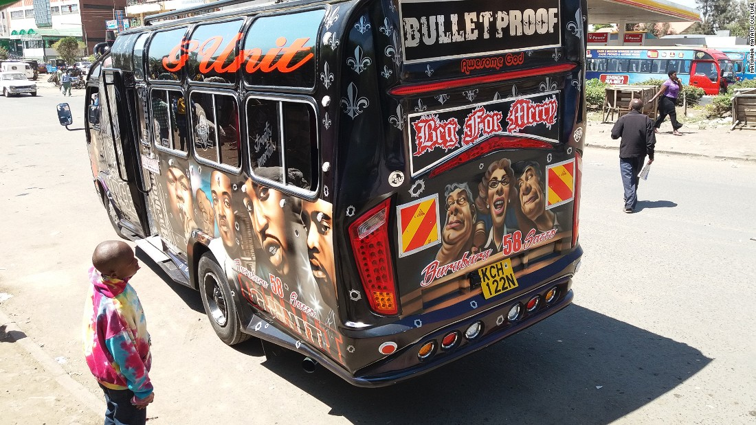 Matatu artwork features international pop stars, hip hop artists, athletes and political icons.<br />