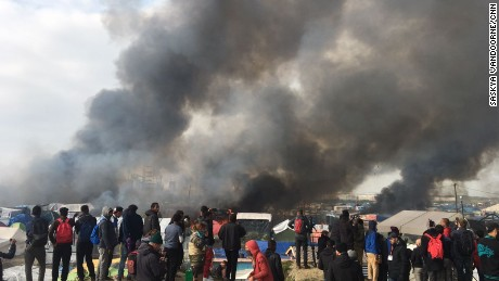 Fires burned in the camp on Wednesday.