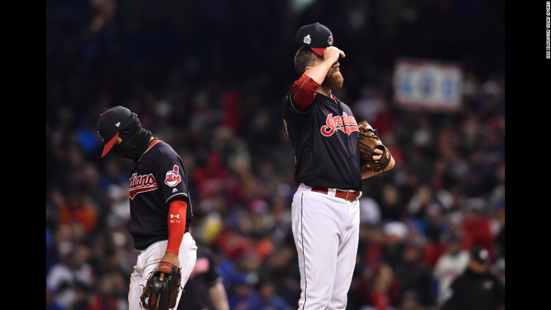 Relief pitcher Zach McAllister and shortstop Francisco Lindor of the Indians react during fifth inning in Game 2.