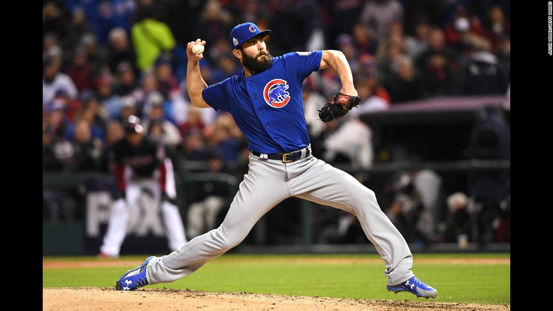 Jake Arrieta of the Cubs throws a pitch during the fourth inning of Game 2. He had a no hitter through five innings.