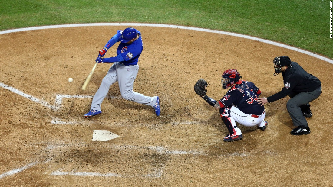 Ben Zobrist of the Cubs in action at the plate in Game 2.