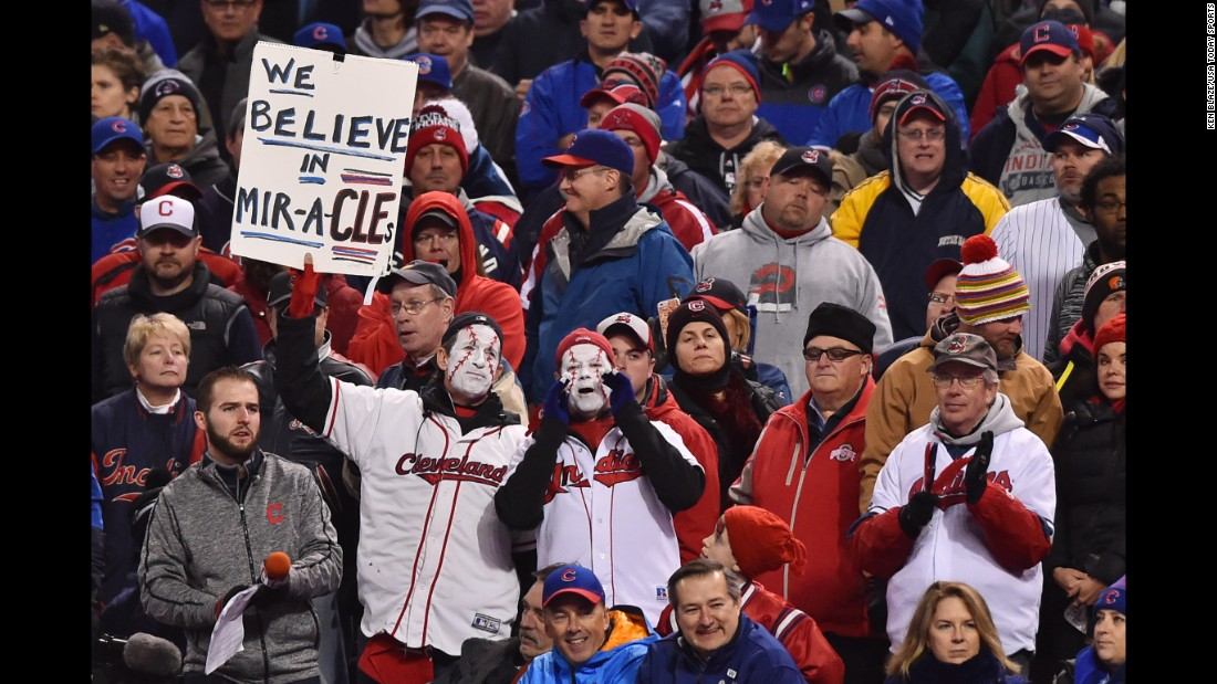 Indians fans hold up a sign in the stands during the sixth inning in Game 2.