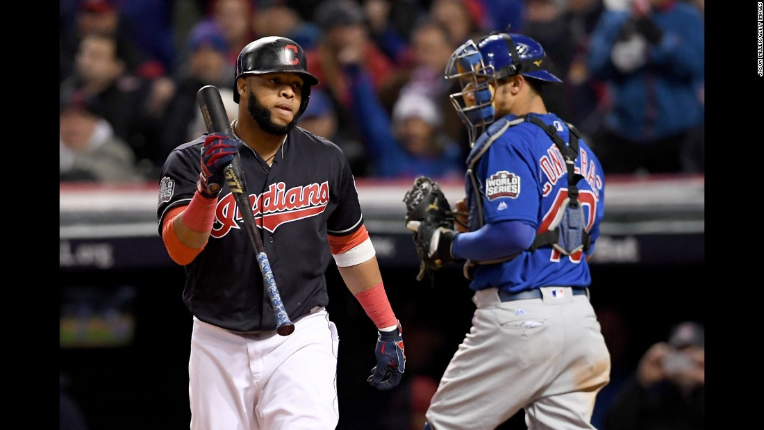 Designated hitter Carlos Santana of the Indians reacts after striking out during the seventh inning in Game 2.
