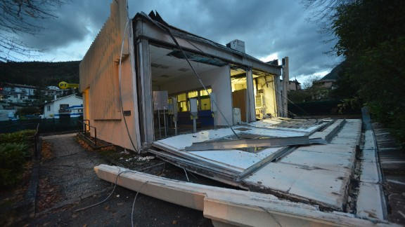 The damaged post office in Visso, central Italy following the quake.