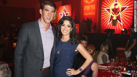 LOS ANGELES, CA - NOVEMBER 22:  Michael Phelps and Nicole Johnson attend the 2015 USA Swimming Golden Goggle Awards at J.W. Marriot at L.A. Live on November 22, 2015 in Los Angeles, California.
