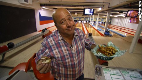 "The ""Bizarre Foods"" host has tasted some interesting culinary treats in his travels to more than 150 countries, but can still appreciate a good burger and fries."