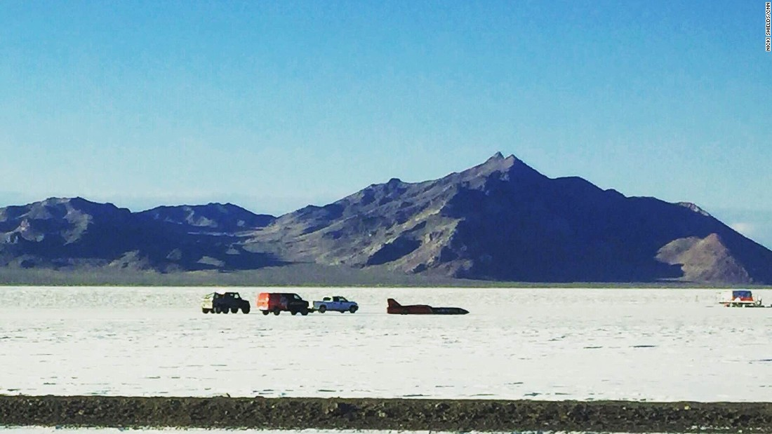 The car was driven along an 11-mile stretch of the salt flats.