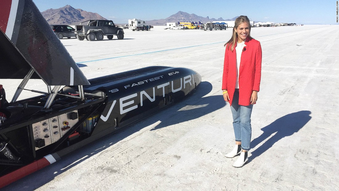 Supercharged presenter Nicki Shields gets a close-up view of the Venturi Buckeye Bullet 3.