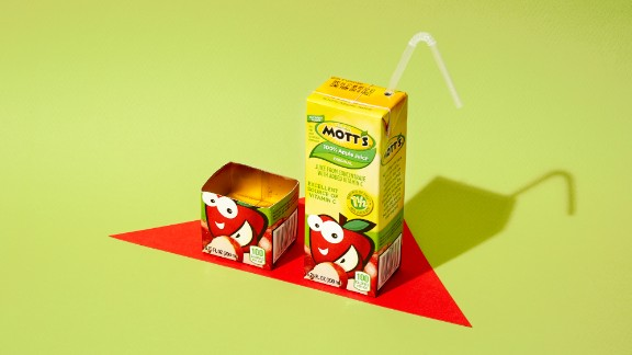 For a 6.75-ounce carton of Mott's apple juice, one plus another two-fifths of a carton equals 33 grams of sugar.