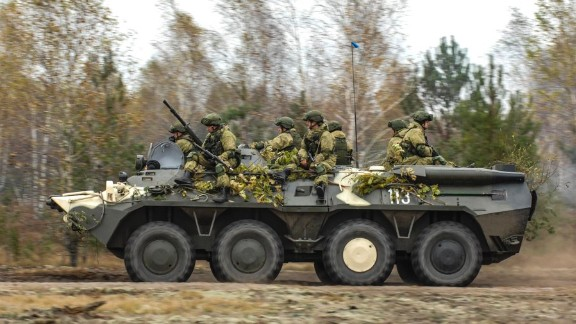Russian and Belarusian paratroopers conduct a military exercise near the border with Poland in October 2016