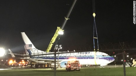Crews worked through the night to free the plane.