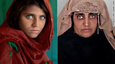 """Afghan Girl"" Sharbat Gula in her famous National Geographic portrait, left, and, right, after her arrest Tuesday October 25"