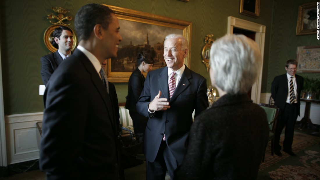 Obama and Biden attend the swearing-in ceremony of Commerce Secretary Gary Locke and Health and Human Services Secretary Kathleen Sebelius in May 2009. Locke and Sebelius were the last two people to join Obama's Cabinet.