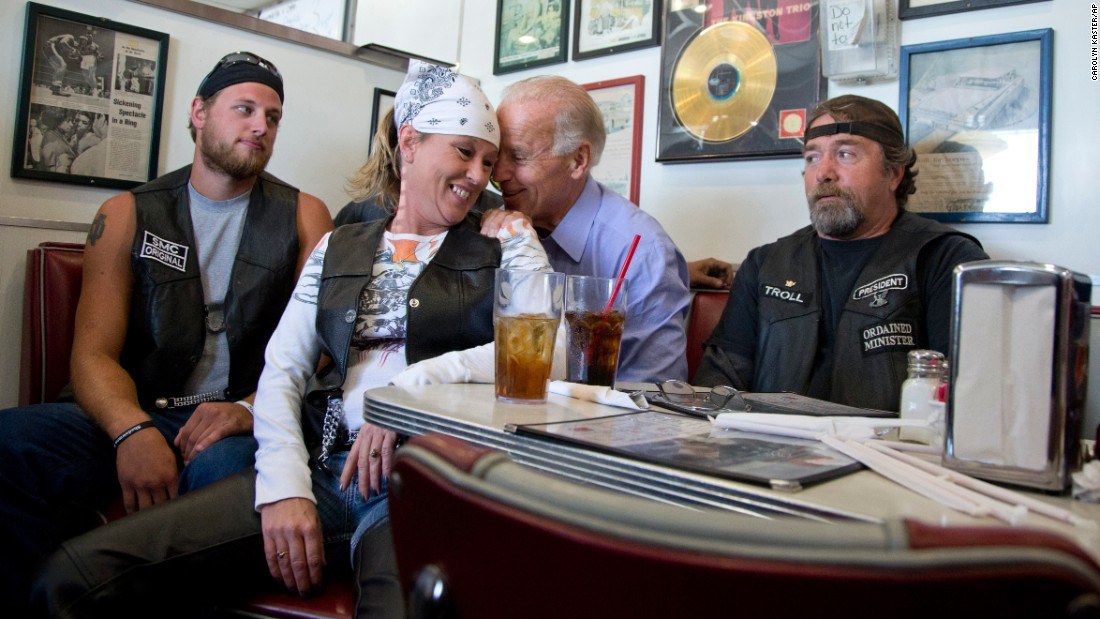 Biden talks to some bikers at a Seaman, Ohio, diner in September 2012.