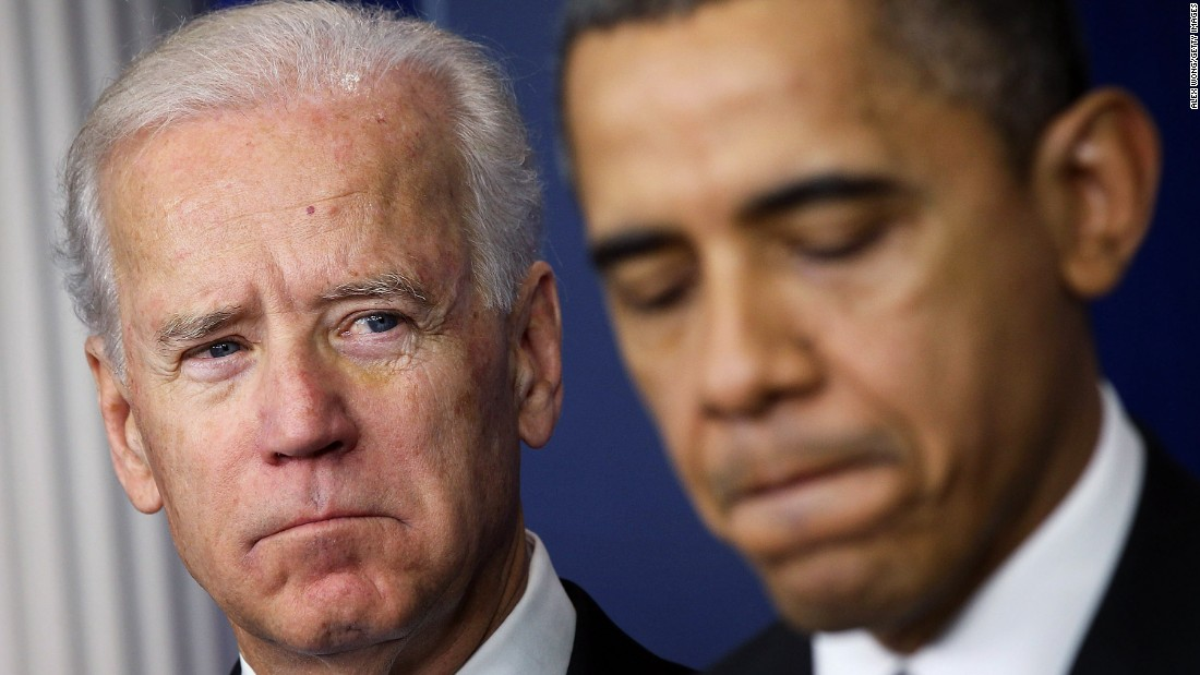 "Biden listens to Obama speak about gun reform in December 2012. In the wake of a shooting at a Connecticut elementary school, Obama tapped Biden to lead an administration-wide effort against gun violence. But <a href=""http://www.cnn.com/2015/10/02/politics/joe-biden-gun-control-oregon-college-shooting/"" target=""_blank"">fierce resistance to new gun legislation</a> thwarted nearly all of the administration's plans."
