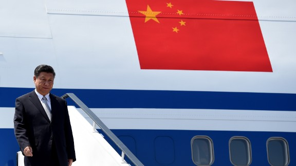 Chinese President, Xi Jinping gestures on his arrival at the airport in Goa on October 15, 2016. Indian Prime Minister Narendra Modi will hold talks with China