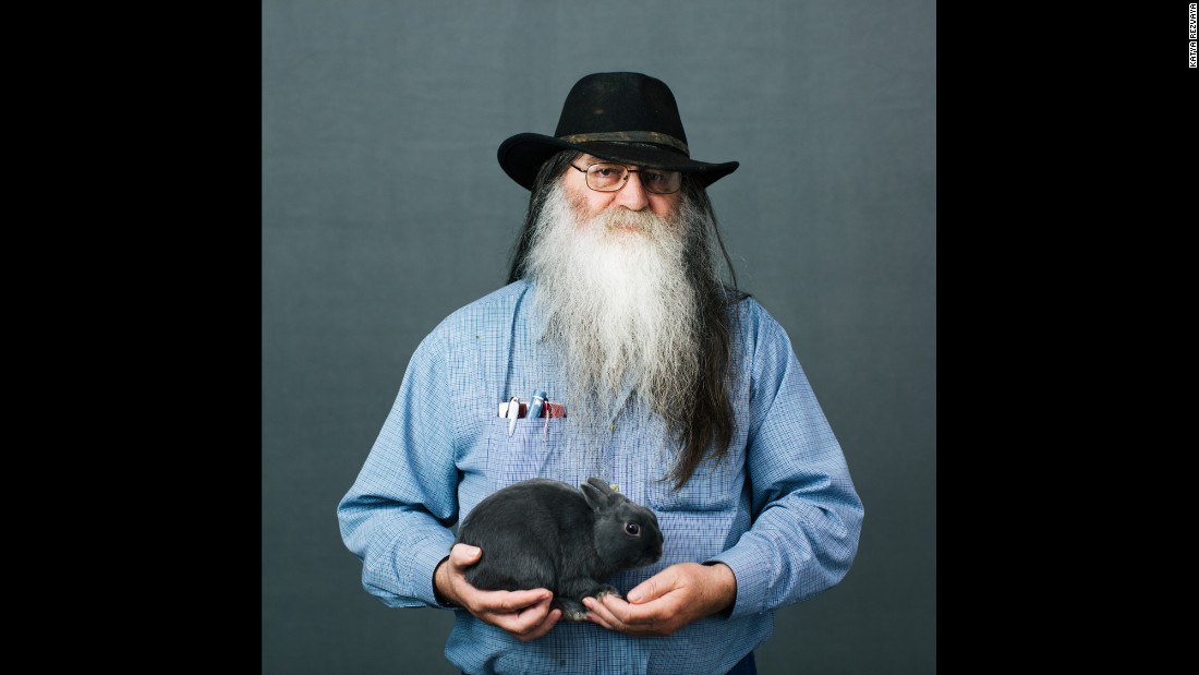 Bill Nelson, of Burbank, South Dakota, holds a Polish rabbit. Polish rabbits are one of the smallest rabbit breeds.
