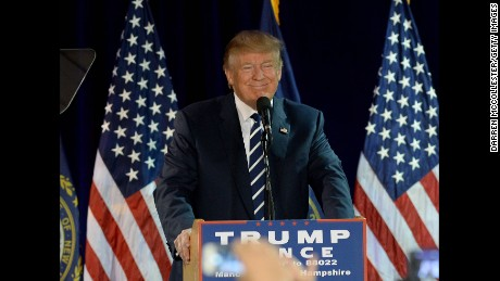 Republican presidential nominee Donald Trump speaks at a rally at the Raddison Hotel on October 28, 2016 in Manchester, New Hampshire.
