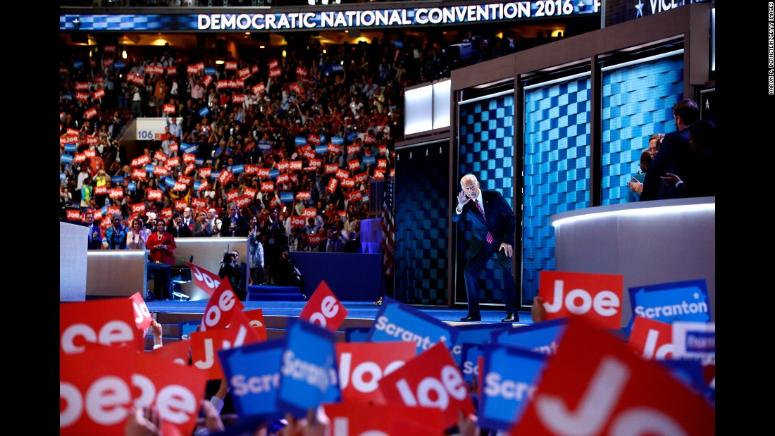 "Biden waves to the crowd before speaking at the <a href=""http://www.cnn.com/2016/07/25/politics/gallery/democratic-convention/index.html"" target=""_blank"">Democratic National Convention</a> in July 2016."
