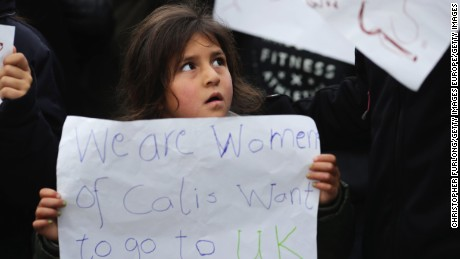 Women and children migrants protested at The Jungle last week, saying they wanted to get to the UK.