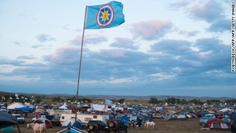 A Standing Rock Sioux flag flies over a protest encampment near Cannon Ball, North Dakota.