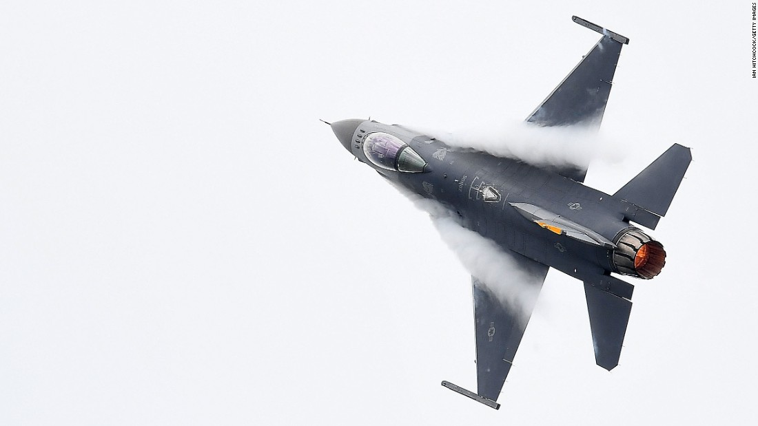 A U.S. Air Force fighter jet performs during an air show in Townsville, Australia, on Saturday, October 15.