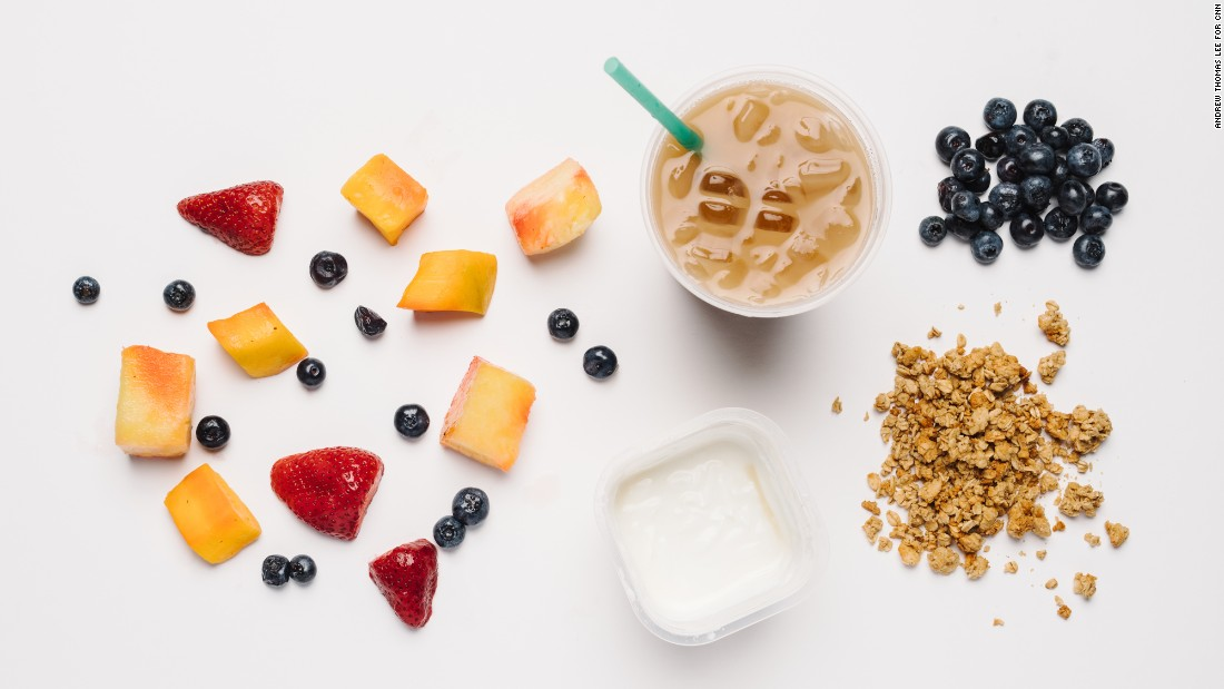 Fresh blueberries and honey Greek yogurt parfait is a mini-meal with only 75 milligrams of salt. An iced skinny flavored latte is a sweet, calcium-rich option.