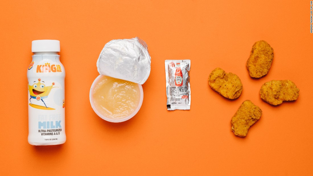 When it comes to kid-specific lunch and dinner, the chicken nuggets are lowest in saturated fat. The King Jr. meal comes with applesauce and a choice of beverage. We recommend the fat-free milk over the apple juice.