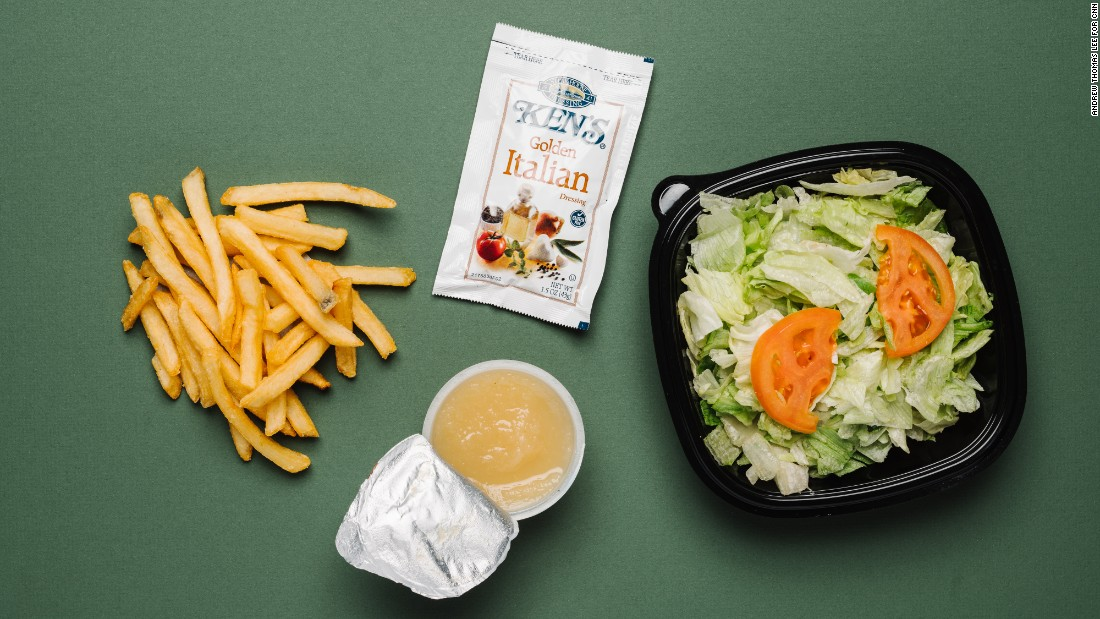French fries and applesauce are vegan, but meal-wise, go for a garden side salad without cheese or croutons and with Golden Italian dressing. The ranch dressing contains egg yolk.