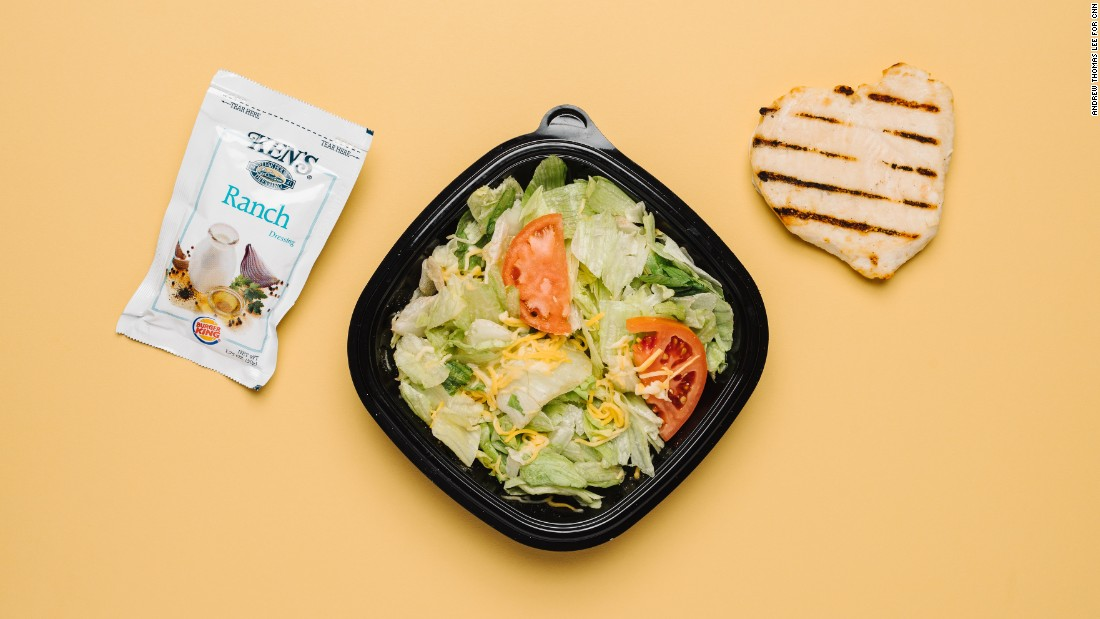 If you want to keep your carb consumption to a minimum, your best bet is to order the Tendergrill chicken sandwich and toss the bun. You can pair it with a garden side salad, minus the croutons, and ranch dressing, which has only 2 grams of carbs per packet.