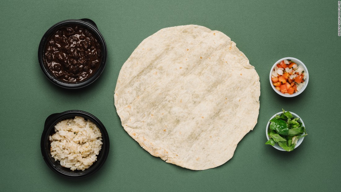 The black bean burrito without cheese offers 7 grams of filling fiber and contains all certified vegan ingredients.