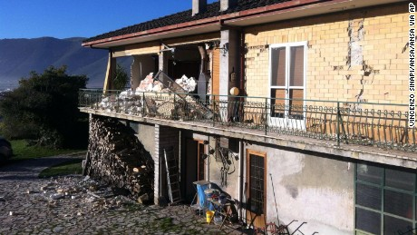Sunday's quake has damaged a building in Norcia, where many people are afraid of leaving.
