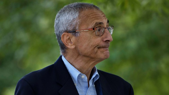John Podesta, Clinton Campaign Chairman, walks to Democratic presidential nominee Hillary Clinton