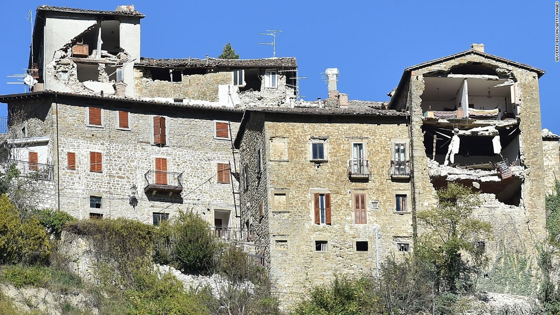 The strong quake leaves buildings damaged in Arquata del Tronto on October 30.