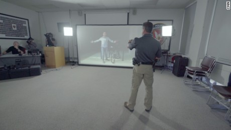 The Durham Police Department's use of force simulator training class.